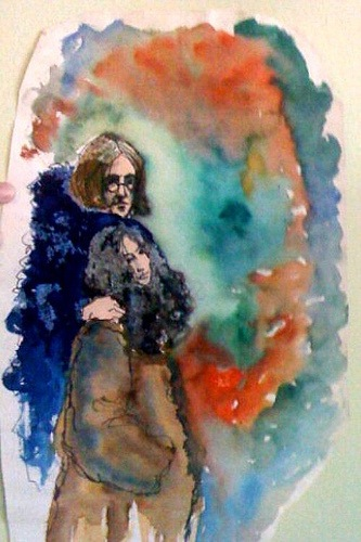 1967 John and Yoko watercolor
