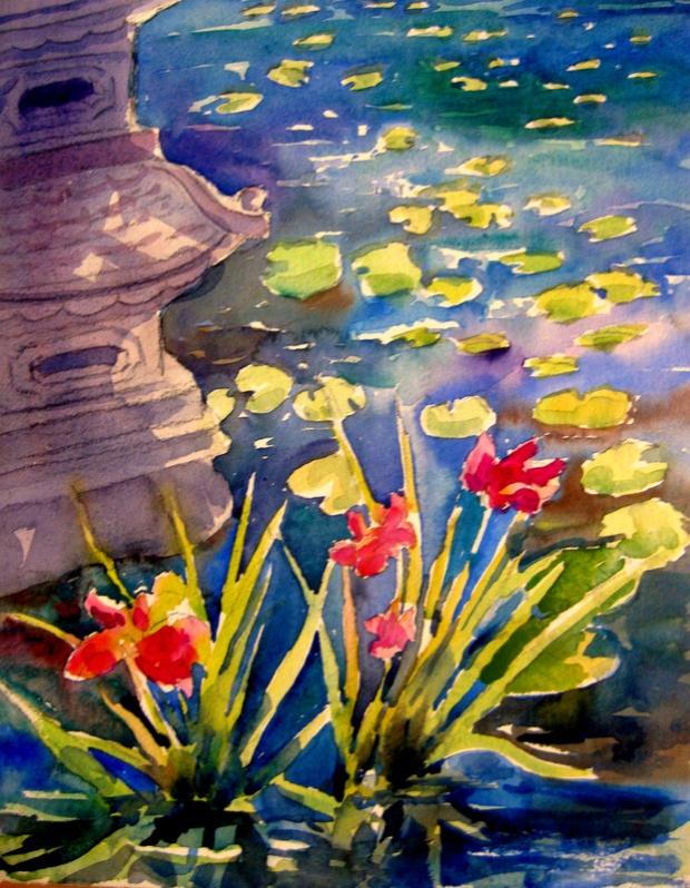 Lily Pond w Japanese Lantern